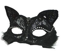 ingrosso maschera glittera nera-Maschera veneziana da ballo Mascherata sexy nera da donna con brillantini fantasia in pizzo per occhi maschili Halloween Cat Lace Eye Mask HJ120