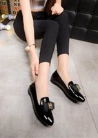 Wholesale Diamond Bowtie - free shipping C16-3 big size 35~41 women flats sheepskin upper and inner office lady shoes round toe and slip-on with diamond bowtie