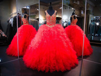 Wholesale Girls Vintage For Bridal - Red Ball Gown Quinceanera Dresses 2017 Open Back Sexy Ruffles Tulle Gold Appliques Sequins Pageant Gowns For Girls Teens Bridal Gowns