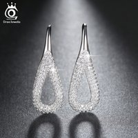 Wholesale Wholesale Diamond Hoop Earrings - Platinum Plated Water Drop Silver Earrings with Shiny 3A CZ Diamond for Women Girl in Fashion Drop Earring OE146