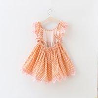 Wholesale Dress Sweet Lace Dot - Everweekend Kids Baby Girls Summer Fashion Lace Princess Dress Print Dots Fly Sleeves Sweet Ruffles Girls Dress