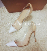 Wholesale Transparent Flat Lady Shoes - PVC transparent Lady Pointy Toe High Heels Pumps Women Party Dress Suede Leather High Quality Sandals Thin High Heels Shoes