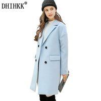 Wholesale ladies hooded wool coats - DHIHKK Women Autumn Winter Wool Coat Blazers Thick Long Wool Blends Soft Solid Outwear Business Office Lady Coats Jackets 358RX