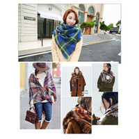 Wholesale Two Tone Ring For Women - Women Scarf Plaid Scarf Neck Wraps Two Tone Colorful Pashmina Fashion Designer Winter Fall Scarf For Ladies 55Inch*55Inch