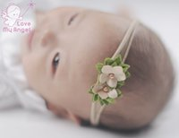 Wholesale Soft Nylon Chiffon - New Arrival 24pcs set Newborn headband skinny soft nylon headband satin chiffon flower baby girl headband Baby Hair Accessories