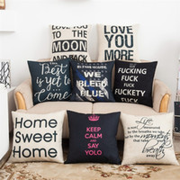Wholesale Letter Cushion Covers - Pillow Covers Cushions Cover Printed Alphabet Letter Linen Fashion Office Sofa Chair Home Textiles Pillowcases Without Pillow Core