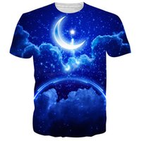 Wholesale Clouds Shirt - 2017 fashion T-shirt Men or Women 3d Tshirt Print blue moon rainbow cloud hot style Creative Short Sleeve casual T shirt