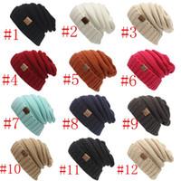 Wholesale elegant hat man - Unisex CC Beanies Elegant Knitted Hats Cap Beanies Autumn Winter Casual Cap Women Men Christmas Warm Hats 12 Color PPA454