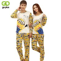 Wholesale Pajamas Minions Adults - 2017 Autumn Long-sleeve Cartoon Lovers Home Clothing Couples Matching Pajamas Adult Minion Pajamas Sets Lovers sleepwear