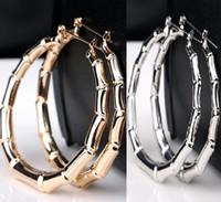 большой круг золотые шпильки оптовых-Оптовая Серия 12 пар Большой золотой серебряный тон бамбука баскетбол жены серьги стержня мотаться обруч круг серьги
