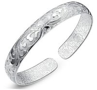 Wholesale vintage chinese bracelet - High Quality 925 Sterling Silver Bangle Bracelets Chinese Style Vintage Opening Fashion Charm Bangles Bracelet Jewelry with Flower Pattern