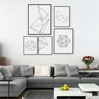 5pcs / lot Modern Abstract Black White Geometric Shape Poster Print Minimalista Hipster Home Wall Art Decor Canvas Gift DH0003