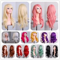 Wholesale Pink Cosplay Wig Long - Hot 70cm long curly black redpink brown 12colors Anime Cosplay wig,High quality womens party kanekalon fibre synthetic hair wigs