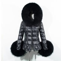 Wholesale Leather Hooded Down Jacket - Women down parkas coats 2016 winter autumn faux fur hooded jackets warm thicken faux leather jacket plus size 3xl winter outwear