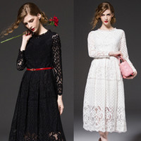 Wholesale Skirt White Short Wholesale - 2016 Summer New Lace Womens Short Sleeve Dresses Ladies Skirts Black White Hollow Floral Vogue Runway Dresses Party Wedding Elegant Fashion