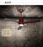 Wholesale ceiling fans resale online - Pendant Ceiling fan lamp European pendant fans LED ceiling lamp simple modern American style pendant fan solid wood door leaf