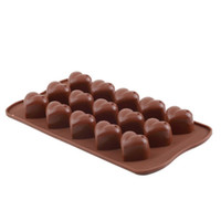 Wholesale Silicone Heart Shaped Chocolate Mould - 150pcs 15 Holes Heart Shape Chocolate Mold DIY Silicone Cake Decoration Mold Jelly Ice Baking Mould Love Gift Chocolate Molds ZA0587