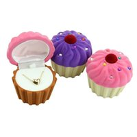 Wholesale Cupcakes Rings Wholesale - 1Pcs High Quality Cupcake Shape Velvet Jewelry Box Ring Earring Necklace Case Candy Color Box for Women WA0097