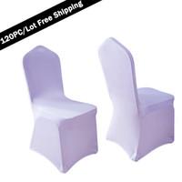 lycra sandalye kapakları satılık toptan satış-100 adet / grup Evrensel Beyaz Polyester Streç Düğün Sandalye Düğün için Kapakları Kalın Likra Kumaş Bez Otel Katlanır Sandalye Koltuk Örtüsü Satış