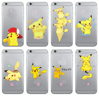 Wholesale I6 4s - For iPhone 7 6 6S  Plus I6 6Plus 5C SE 5 5S 4 4S Galaxy S7 Edge S6 Poke Pikachu Soft TPU Silicone Gel Cartoon Monster Cute Lovely Cover Case
