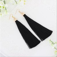 Wholesale Cloisonne Flowers - 5 Colors Fiber Tassel Long Drop Earrings for Bridal Women Gold Plated Brush Bohemia Fashion Wedding Party Jewelry EH422 Free shipping