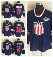 Wholesale Brian Leetch Jersey - 2002 Team USA Hockey Jerseys OLYMPIC Blue Ice 16 Brett Hull 2 Brian Leetch 9 Mike Modano Jersey Men Best Breathable All Stitching Quality