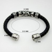 Wholesale Cheapest Price Beads Charms - Genuine Leather Bracelet Men Stainless Steel Leather Braid Bracelet With Magnetic Buckle Claps Pulseiras Masculina Cheap bracelet price