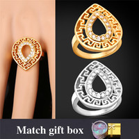 Wholesale Drop Shape Ring - U7 Vintage Cubic Zirconia Ring 18K Real Gold  Platinum Plated Water Drop Shape Crystal Fashion Rings For Women Perfect Gifts