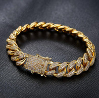 Wholesale Gold Plated Jewelry 18 K - hip hop style bangle jewelry 18 K gold micro-set CZ zircon of men's Diamond hand chain of boy jewelry bracelet wholesale