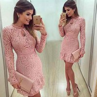 Wholesale High Neck Cocktail Dress Pearls - 2016 New Arrival Keyhole Neck Cocktail Dresses Mini Short Pink Lace Beaded Long Sleeves Party Prom Gowns