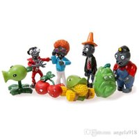 Wholesale Plants Zombies Figures Pvc - Free Shipping 8pcs set Plants vs. Zombies Toys Bucket Zombie 5-8cm PVC Action Figures E1087