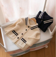 Wholesale Preppy Cardigan - Toddler kids cardigans Baby girls stripe double pockets knitting sweater Infants lapel long sleeve preppy style outwears Kids clothes C2047