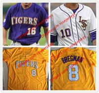 Wholesale Alex Tiger - Custom LSU Tigers College Baseball #8 Alex Bregman Purple Gold White Yellow DJ LeMahieu Nola Gausman Stitched Any Name Number Jerseys S-4XL
