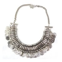 Wholesale Belly Dance Necklace Coin - Bohemian Ethnic Tribal Silver Belly Dance Coin Tassel Choker Bib Necklace Belly Dancing Jewelry tracking fee