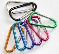 Wholesale stainless steel snap hook carabiner resale online - Carabiner Ring Keyrings Key Chain Outdoor Sports Camp Snap Clip Hook Keychains Hiking Aluminum Metal Stainless Steel Hiking Camping LOGO