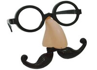 Wholesale fake beard sets online - Funny Clown Fake Big Nose Glasses Mustache Beard Halloween Carnival Costume Party Ball Prop Glasses Set Mischief joy