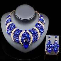 Wholesale 2016 Hot Fashion New Style Royal Blue Jewelry Sets Necklace Earring Sets For Women
