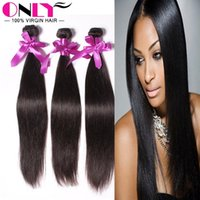 Wholesale Double Drawn Straight Remy Hair - Machine Double Drawn Weft Brazilian Non-Remy Human Hair Extensions Double Weft Human Hair Weaving Straightened Beautiful Style