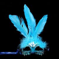 plumas de pelusa al por mayor-Colorful Fluff Feather Mask Women Girls Masquerade Ball Masks fiesta festiva Dancewear fiesta de Navidad vestido suministros