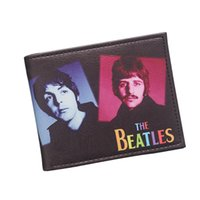 Wholesale Leather Rolling Men - Antique Rock Roll Band THE BEATLES Wallet UK United Kingdom British Pop Band Designer Leather Wallet For Women Men Retro Short Purse Bifold