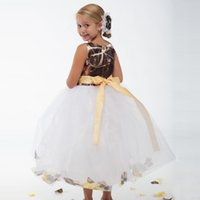 2016 Nuovo Camo Flower Girl Dres per Wedding Party Cheap Jewel Neck Mother Daughter vestiti abbinati Ball Gown