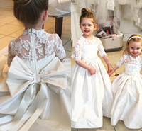Wholesale short christmas dresses for children resale online - 2016 New Cute White Flower Girls Dresses For Weddings Jewel Neck Sashes Bow Half Sleeves Party Birthday Dress Children Girl Pageant Gowns