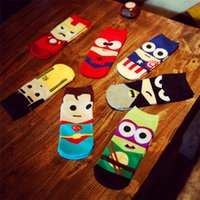 Wholesale Art Stocks - Fashion New Sports Stockings Cartoon Super Hero Socks Men Unisex Stocking Soft Cotton Socks Wholesale Free Shipping