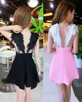 2017 Hot Women Noir et Blanc Nouveauté V Neck Wing Shape Open Back Mini Skater A Line Dress Summer Empire Cami Vêtements
