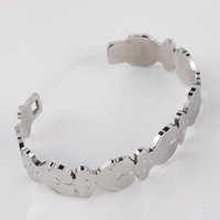 Wholesale Unique Steel Gifts - 2017 Stainless Steel Bear Bangle Bracelet High Quality 2 Colours Fashion For Women Unique Design Gift