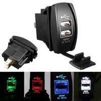 Wholesale 12 24v Usb Car Charger - 3.1A 12-24V LED Backlit Rocker Switch Dual USB Charger Car Truck Boat UTV ATV Rocker Switch Panel Red Green Blue White
