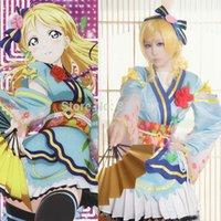 Wholesale Angelic Dress - Wholesale-Lovelive Love Live Angelic Angel Ayase Eli Kimono Uniform Dress Outfit Anime Cosplay Costumes