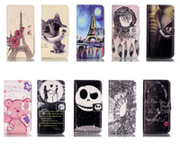 Wholesale Tower Case Stand - Tower Cat Windbell Bear Elephant Wallet Leather case holder stand for Iphone 6 6s plus Samsung S6 S7 edge A310 A510 J1 J5