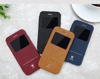 Wholesale Iphone Simple Flip Cases - Phone Accessories Baseus Simple Series Leather Cases Case for iPhone 7 iPhone7 Plus Sliding Leather Flip Covers Smart Phone Case
