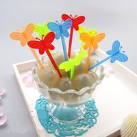 Wholesale Eco Friendly Disposable Spoons - 200pcs Butterfly shape Disposable plastic fruit toothpick bird fruit fork set birthday wedding decorative party supplies